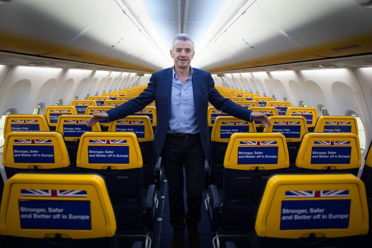 "File photo dated 16/05/16 of Ryanair chief executive Michael O'Leary who has compared Government ministers to the characters of television sitcom Dad's Army due to their ""lunatic optimism"" over Brexit. PRESS ASSOCIATION Photo. Issue date: Tuesday November 22, 2016. The chief executive of the Dublin-based carrier claimed the UK is about to ""walk off a cliff"" by leaving the European Union. See PA story AIR Brexit. Photo credit should read: Stefan Rousseau/PA Wire"