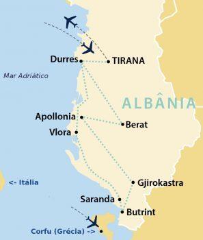 mapa roteiro albânia
