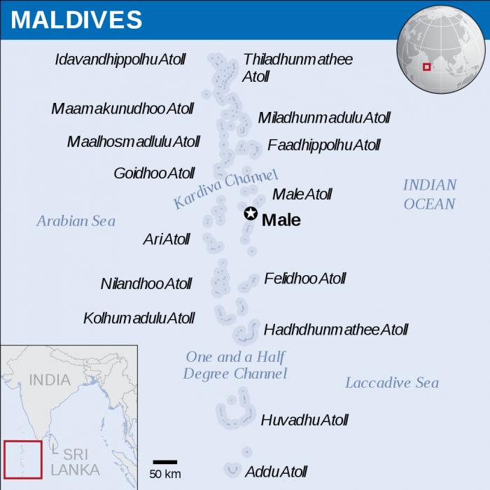 mapa atois maldivas